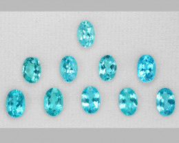 5.36 Cts 10 pcs Un Heated  Natural Neon Blue Apatite Loose Gemstone