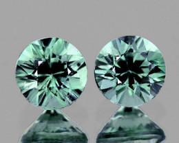 3.80 mm Round 2 pcs Unheated Blue Green Sapphire [VVS]