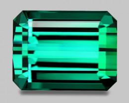 Flawless, high gem quality custom cut bluish green tourmaline.