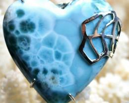 Larimar 278 carats - pendentif cabochon - Rép Dominicaine - Argent 925