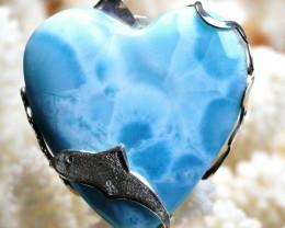 Larimar 197 carats - pendentif cabochon - Rép Dominicaine - Argent 925 / Re