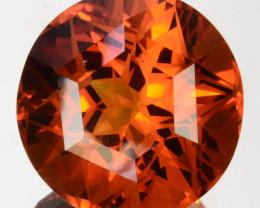 12.40 Cts Unheated Natural Golden Orange Citrine Round Fancy Cut Brazil