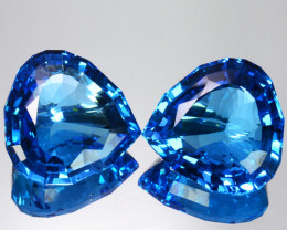 Perfect!! 202.05 Cts Natural  Sky Blue Topaz Heart Custom Cut Pairs Brazil