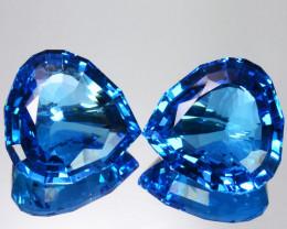 Perfect!! 202.05 Cts Natural  Sky Blue Topaz Heart Custom Cut Pairs Brazil