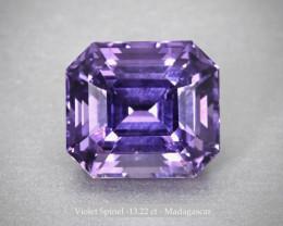 Shining Violet Spinel - Octagon 13.22 ct - Madagascar - Certified Gem