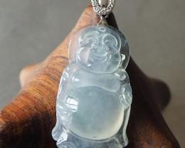 Laughing Buddha Icy jade pendant