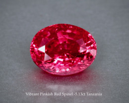 Sparkling Rich Pinkish Red Spinel 5.13ct - Tanzania - Lovely Gem
