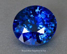 Glittering Royal Blue Sapphire 8.71ct Round - GRS Certified Gem