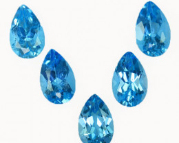 ~SET~ 5.10 Cts Natural Baby Blue Topaz 8x5mm Pear Cut 5Pcs Brazil