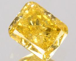 0.31Ct Natural Yellow Diamond Octagon