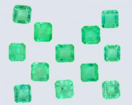 2.78 Cts Natural Vivid Green Emerald 12Pcs Octagon Cut Colombia