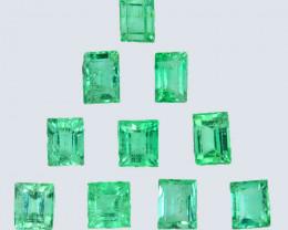 2.78 Cts Natural Vivid Green Emerald 10Pcs Baguette Cut Colombia