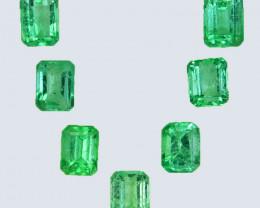 1.70 Cts Natural Vivid Green Emerald 7Pcs Octagon Cut Colombia
