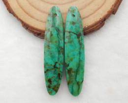 35cts Chrysocolla earrings ,oval earrings ,Designer Making G758