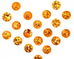 5.15 Cts Natural Fanta Orange Spessartite Garnet 3.5mm Round 19Pcs Namibia