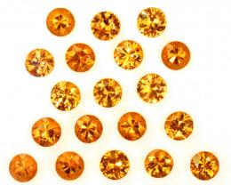 5.12 Cts Natural Fanta Orange Spessartite Garnet 3.5mm Round 19Pcs Namibia