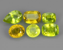 3.00 CTS NATURAL GREENISH-YELLOW SPHENE PARCEL 6 PCS~EXCELLENT!!