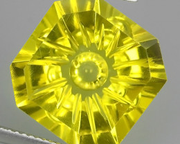11.55 CTS DAZZLING TOP NATURAL YELLOWISH GREEN QUARTZ FANCY CUT CUSHION NR!