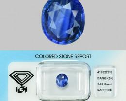1.94 Cts IGI Certified Un Heated Natural Violetish Blue  Ceylon Sapphire Ge