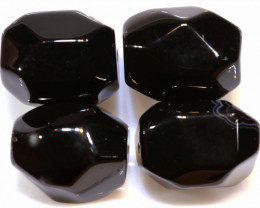 185 CTS BLACK ONYX FACETED BEAD 4 PCS   NP-699