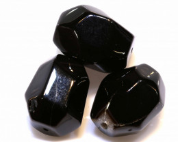 119 CTS  BLACK ONYX FACETED BEAD 3 PCS NP-700