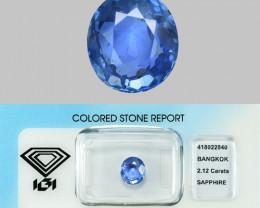 2.12 Cts IGI Certified Un Heated Natural Light Blue  Ceylon Sapphire Gemsto