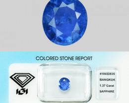 1.37 Cts IGI Certified Natural Blue Ceylon Sapphire Gemstone