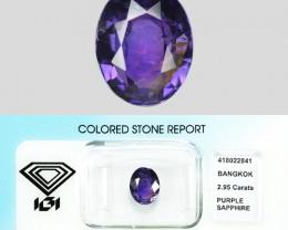 2.95 Cts IGI Certified Un Heated Natural Purple Ceylon Sapphire Gemstone