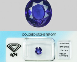 2.95 Cts IGI Certified Un Heated Natural Purple Ceylon Sapphire Gemstone