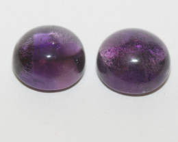 15.9 ct African Amethyst Pair Round Cabochon 12mm(SKU268)