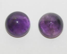 10.6 ct African Amethyst Pair Round Cabochon 11mm(SKU269)