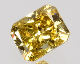 0.14 Cts Natural Untreated Diamond Fancy Yellow Octagon Cut Africa
