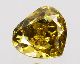 0.11 Cts Natural Untreated Diamond Fancy Yellow Heart Cut Africa