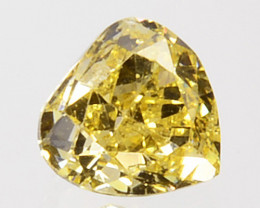 0.16 Cts Natural Untreated Diamond Fancy Yellow Heart Cut Africa