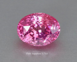 Twinkling Bright Fine Pink Sapphire - 3.71ct Oval - Heated