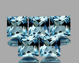 4.00 mm Square Princess 5 pcs 1.56cts Blue Aquamarine [VVS]