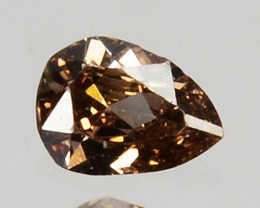 0.05 Cts Natural Untreated Diamond Sparkly Brown Pear Cut Africa