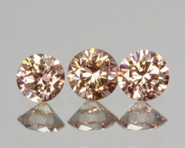 ~UNTREATED~ 0.15 Cts Natural Peach Diamond Round Cut 3Pcs SET Africa