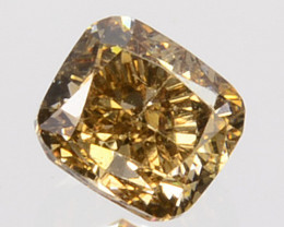 0.19 Cts Natural Untreated Diamond Fancy Yellow Cushion Cut Africa