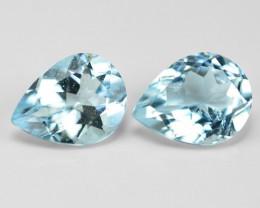 2.86 Un Heated  2 pcs Sky Blue Color Natural Aquamarine Loose Gemstone