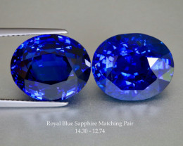 Stunning Royal Blue Sapphire Matching Pair- Oval 14x11mm - 27cts Total