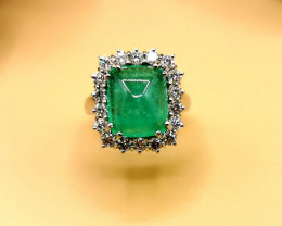 6,46ct Colombian Emerald 18k Solid Gold Ring with Diamonds Ref 5/32 Colombi