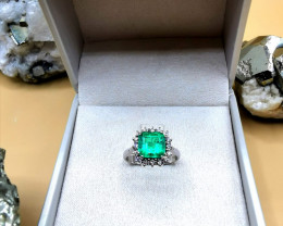 2,39ct Colombian Emerald 18k Solid Gold Ring with Diamonds 4/32 Colombi
