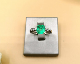 1,56ct Colombian Emerald 18k Solid Gold Ring with Diamonds Ref 13/32 Colomb