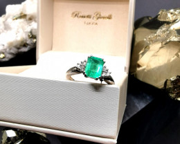 1,60ct Colombian Emerald 18k Solid Gold Ring with Diamonds Ref 14/32 Colomb