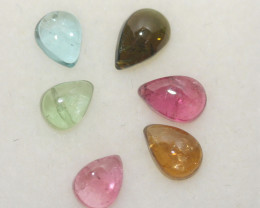 2.4 Ct Tourmaline Lot Drop Cabochons 5x4mm And 6x4mm.-(6pcs.).-(SKU 293)