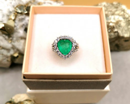 4,22ct Colombian Emerald 18k Solid Gold Ring with Diamonds Ref 15/32 Colomb