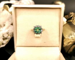 1,80ct Colombian Emerald 18k Solid Gold Ring with Diamonds Ref 20/32 Colomb