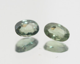 1.27 Ct  Green Sapphire Pair Faceted Oval 6x4mm.(SKU302)
