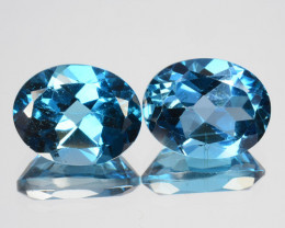 ~PAIR~ 5.54 Cts Natural London Blue Topaz 10x8mm Oval Cut Brazil
